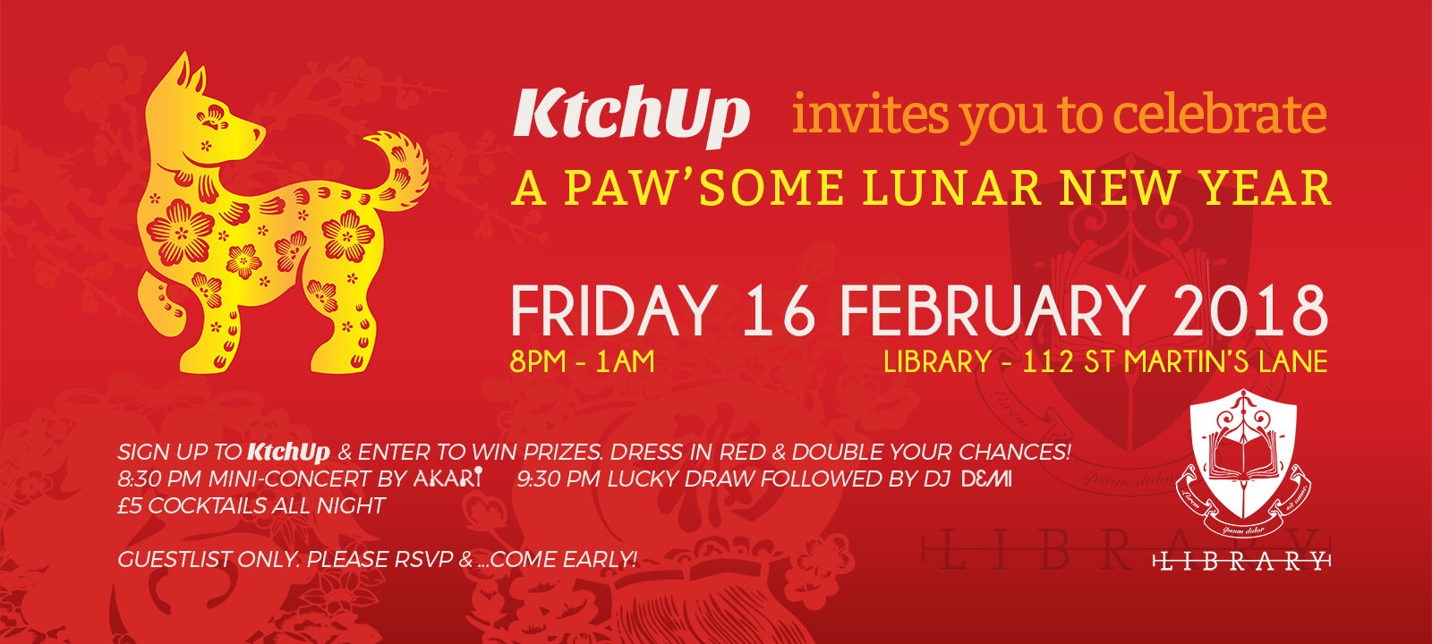 Paw'some Lunar New Year Party - Friday 16th February 2018